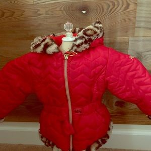 Little girl Tufted winter coat with leopard detail